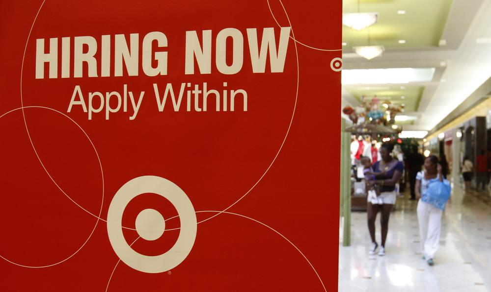 A Target store advertises for employment in Daly City, Calif. (AP)
