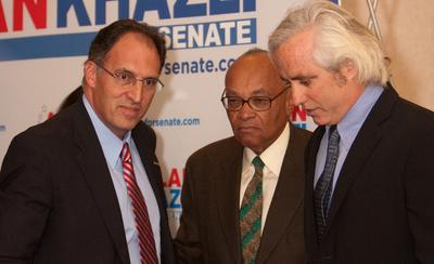 Hubie Jones, center, with alan Khazei, left, at a campaign rally. (Alan.Khazei/Flickr)