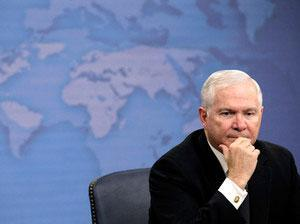 Defense Secretary Robert Gates listens to a reporter's question during a news briefing about gays in the military Tuesday at the Pentagon. (AP)