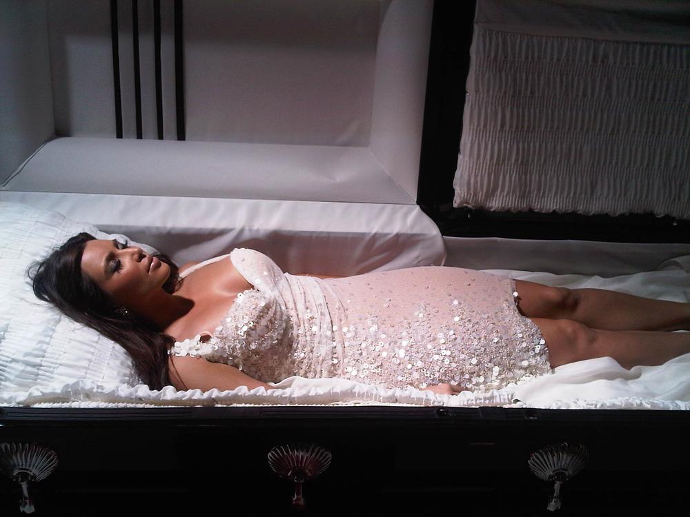 Kim Kardashian 'died' to raise money and awareness for World AIDS Day. (Courtesy of Kim Kardashian/Buy A Life.org)