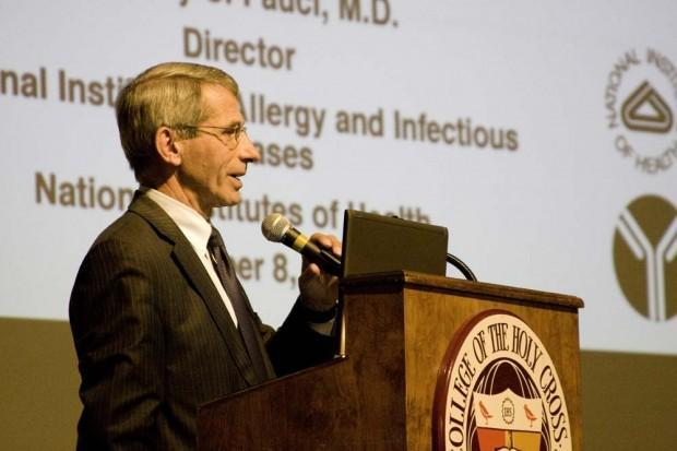 Dr. Fauci speaking recently at Holy Cross