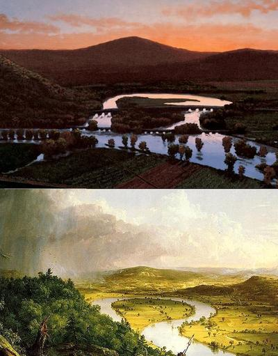 Paintings by two different artists of the oxbow on the Connecticut River in Northhampton, Massachusetts. Top photo: Stephen Hannock, Metropolitan Museum of Art. Bottom photo: Thomas Cole.