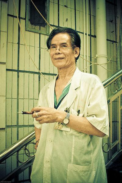 Smoking doctor (in China, where it's common even during exams)