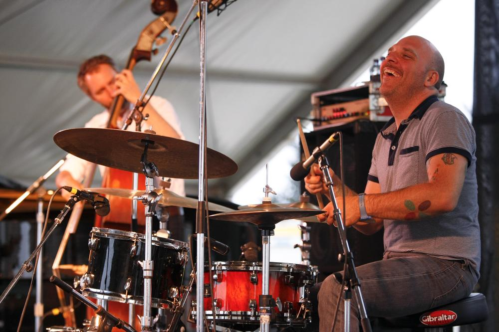 Drummer David King and bassist Reid Anderson of The Bad Plus perform at George Wein's Carefusion Newport Jazz 55 in Newport, R.I.  (AP)