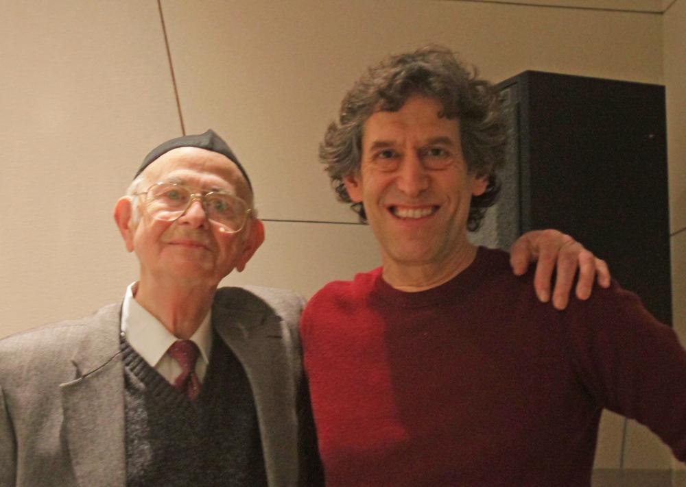 Morris Hollender, left, with Hankus Netsky at WBUR's studios (Jeremy Bernfeld for WBUR)
