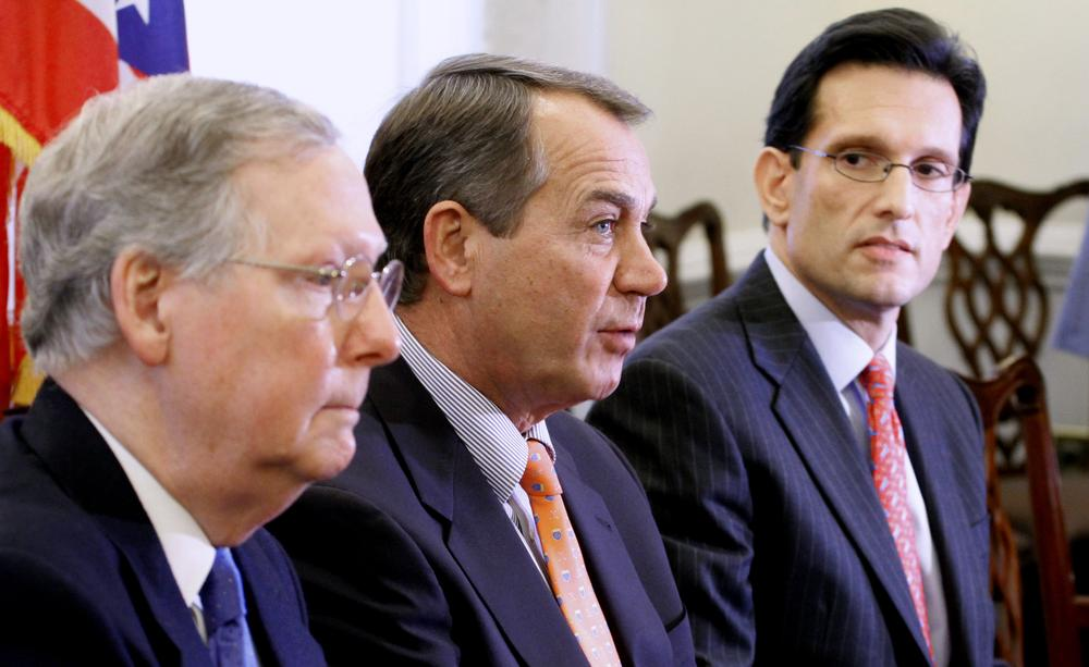 House Minority Leader John Boehner of Ohio, center, accompanied by Senate Minority Leader Mitch McConnell of Kentucky, left, and House Minority Whip Eric Cantor of Virginia speak yesterday after meeting with President Barack Obama. (AP)