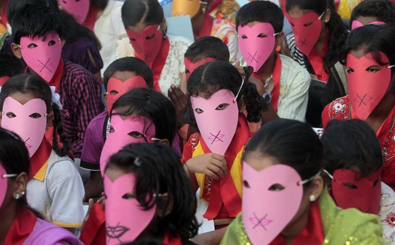 Indian children affected with HIV participate in an awareness rally in Mumbai, India, Wednesday.