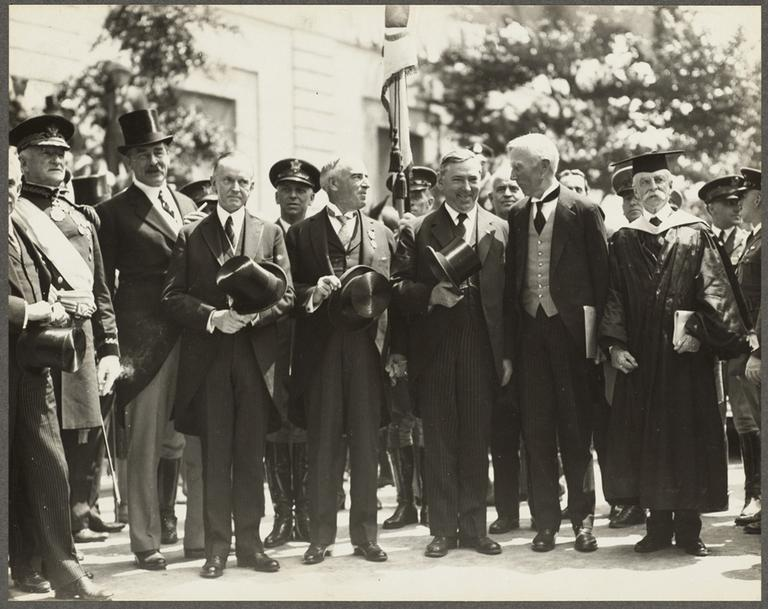 Celebrating the Massachusetts Tercentenary. Left to right: Gen. Pershing, unknown, Calvin Coolidge, Gov. Frank G. Allen, James M. Curley, John D. Rockefeller, Abbott L. Lowell — Presdent Of Harvard (Boston Public Library/Flickr)