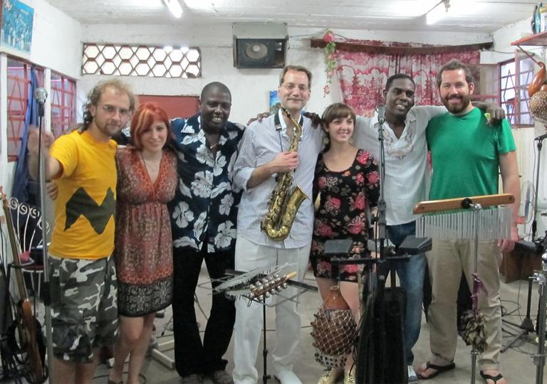 Students, and Prof. Neil Leonard, center with sax, from Berklee's Interarts Ensemble in Cuba (Courtesy of Berklee)