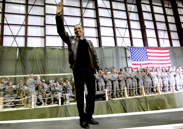 President Obama waves to the troops at Bagram Air Field. (AP)