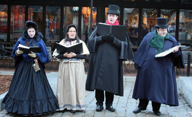 Carolers outside Boston's Faneuil Hall (Frank Reese/Flickr)