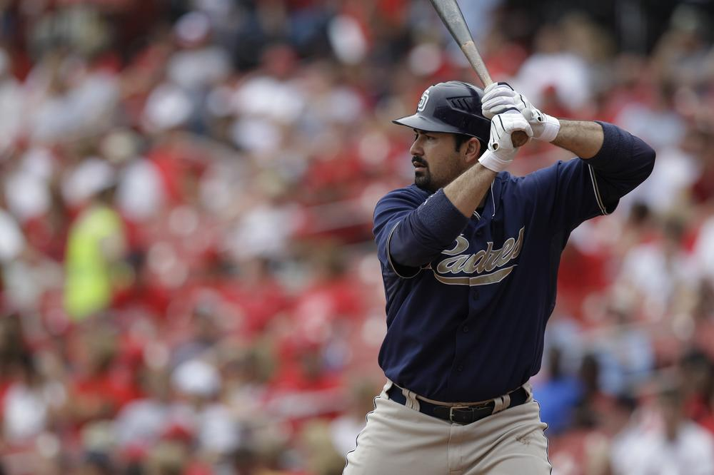 San Diego Padres' Adrian Gonzalez bats against the St. Louis Cardinals on Sept. 19 in St. Louis. (AP)