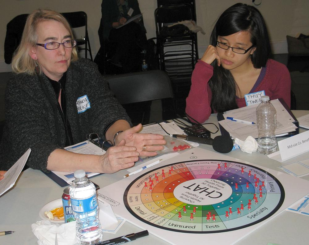 Barbara Berke, left, with the Greater Boston Interfaith Organization, takes Thuytien Le and other members through a game of choosing priorities in health care. (Martha Bebinger/WBUR)