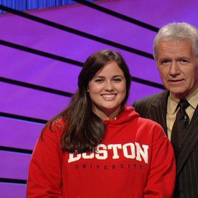 Boston University sophomore Erin McLean with host Alex Trebek (Jeopardy Productions, Inc.)