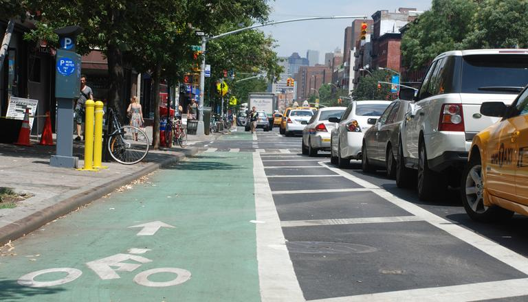 The city recently removed a few lanes of traffic on New York City's First Avenue to add a bike lane. (Joe Shlabotnik/Flickr)