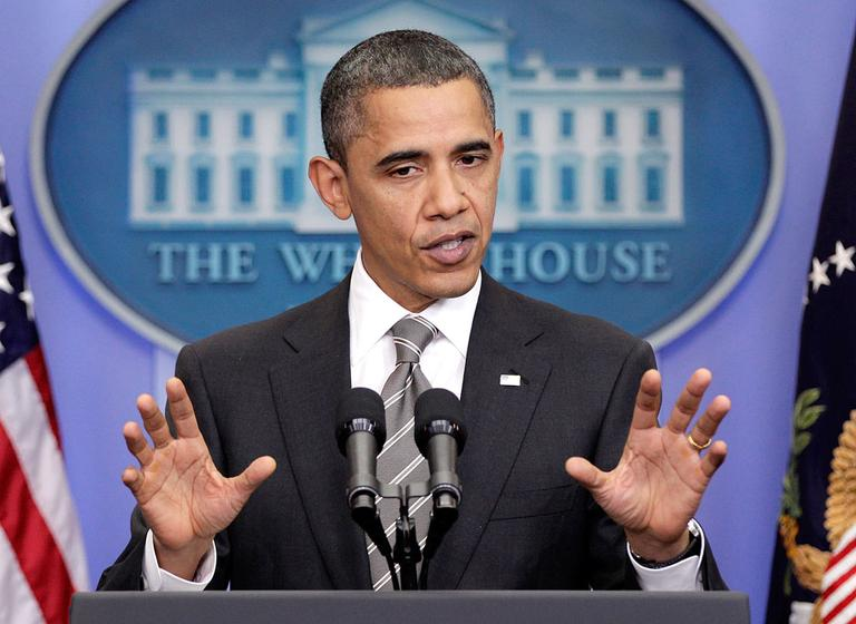 President Obama takes questions from reporters during a news conference at the White House on Tuesday. (AP)