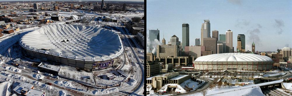 The inflatable roof of the Metrodome collapsed Sunday after a snowstorm dumped 17 inches on Minneapolis. (AP)