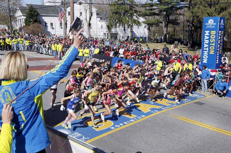 The elite women start the 114th running of the Boston Marathon in Hopkinton, Mass., April 19. (AP)