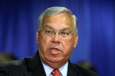 Mayor Thomas Menino speaks at the Project Hope Community Building in Roxbury in this May 2009 file photo. (AP)