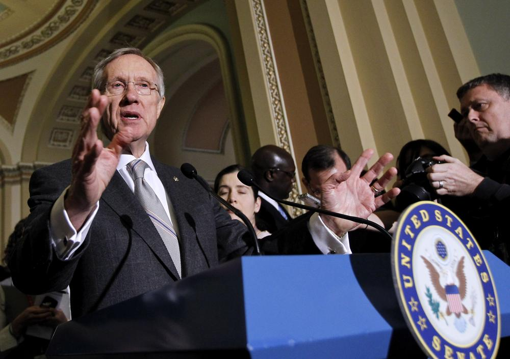 Senate Majority Leader Sen. Harry Reid Nev., gestures during a news conference on Capitol Hill in Washington. (AP)