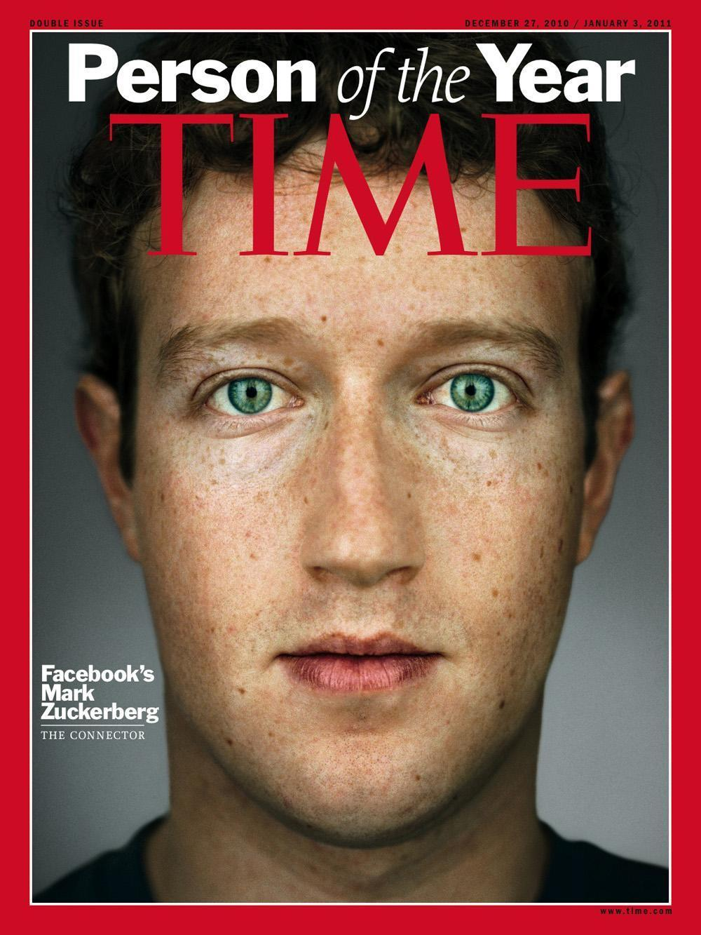 "The cover for Time's 2010 ""Person of the Year,"" Facebook founder and CEO Mark Zuckerberg. (AP/Time Magazine)"
