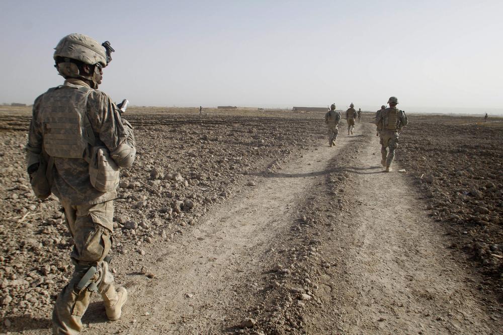U.S. soldiers patrol in Panjwai district of Kandahar province, south of Kabul, Afghanistan. (AP)