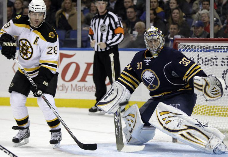 Buffalo goalie Ryan Miller watches the puck under pressure from Boston's Mark Recchi (28) during the second period of the game in Buffalo, N.Y., on Wednesday. (AP)