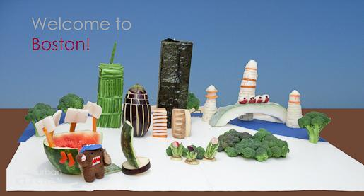 The Boston skyline made out of food. (Courtesy of Jennifer Che)
