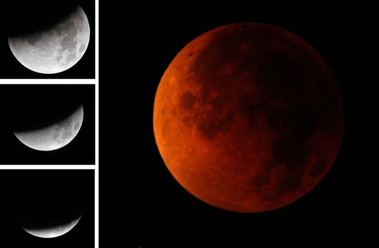 Various stages of the lunar eclipse are shown early on Aug. 28, 2007, from Provo, Utah, as the moon crossed into the shadow of the earth. The eclipse lasted a hour and a half, as the moon turned from its normal gray to a sunset-red as the full effect of the eclipse took place. (AP)