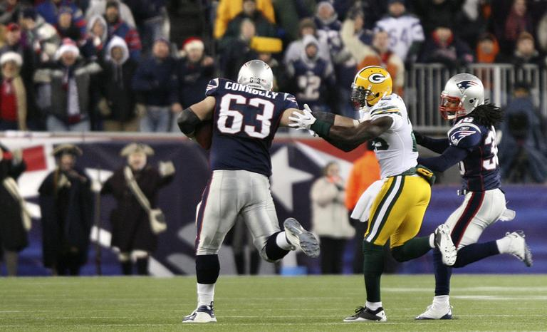 New England Patriots offensive lineman Dan Connolly rumbled 71 yards for what is believed to be the longest kickoff return by an offensive lineman in NFL history. (AP)