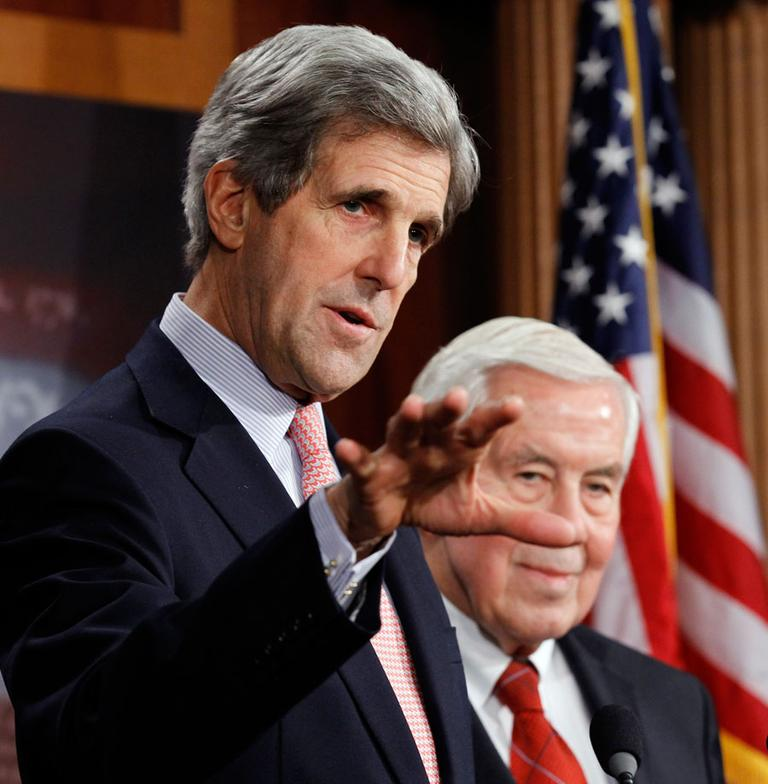 Sen. John Kerry, D-Mass., left, and Sen. Richard Lugar, R-Ind., talk about the New START Treaty on Capitol Hill Tuesday. (AP)