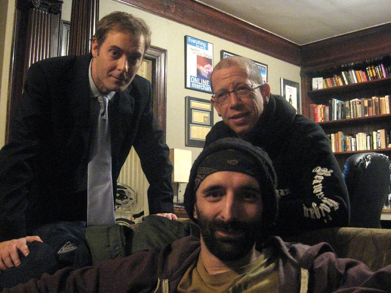 Actor Tom Dustin, left, Scott Matalon, right standing, and Rob Potylo. (Andrea Shea/WBUR)