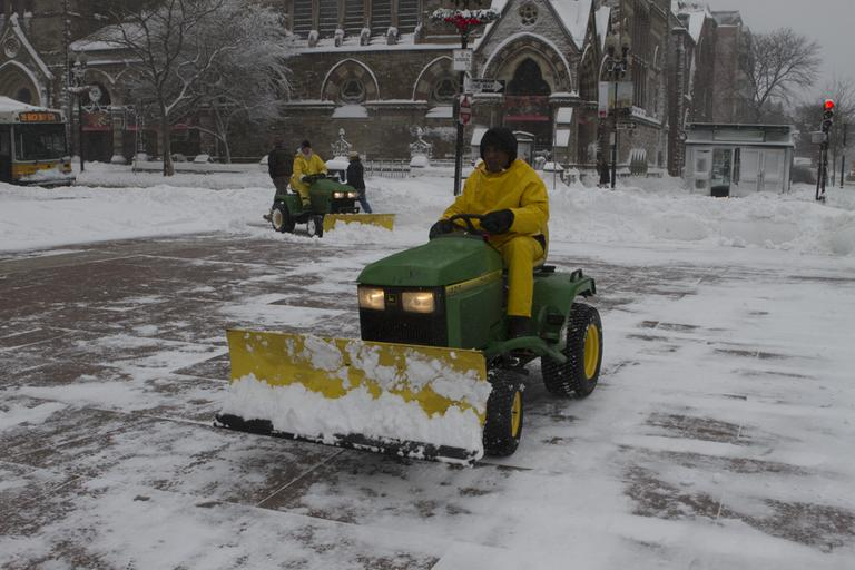 It took an army of snowplows to clear Boston's Copley Square. (Nicholas Dynan for WBUR)