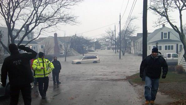 Like many low-lying areas of Scituate, Tenth Avenue flooded during Monday's Nor'easter. (Steve Brown/WBUR)