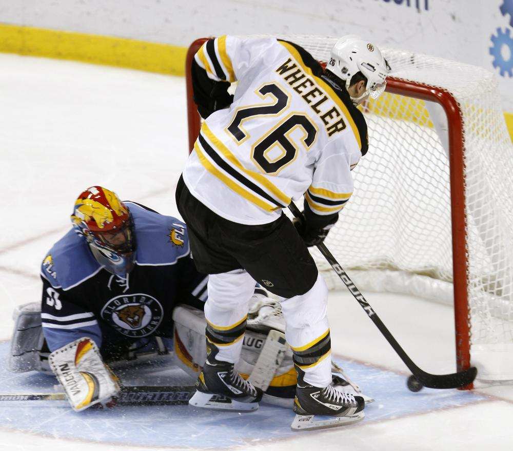 Florida goalie Scott Clemmensen is unable to block a shot by Boston's Blake Wheeler (26) during the shootout of the game in Sunrise, Fla., on Monday. The Bruins won 3-2. (AP)