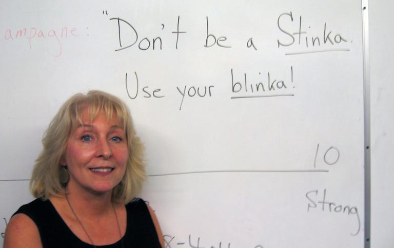 Boston Accent Reduction Class instructor Wendy Wiberg (Adam Ragusea/WBUR)