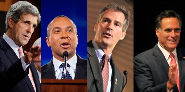 Left to right: Sen. John Kerry, Gov. Deval Patrick, Sen. Scott Brown, former Gov. Mitt Romney. (Image of Patrick by Dominick Reuter for WBUR; all others by AP)