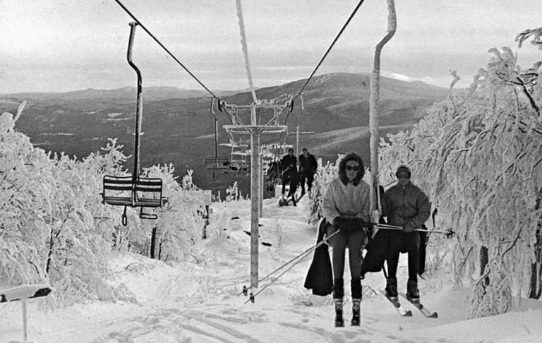 The double chair lift in Bromley, VT., installed in the 1960s.(Courtesy of the New England Ski Museum)