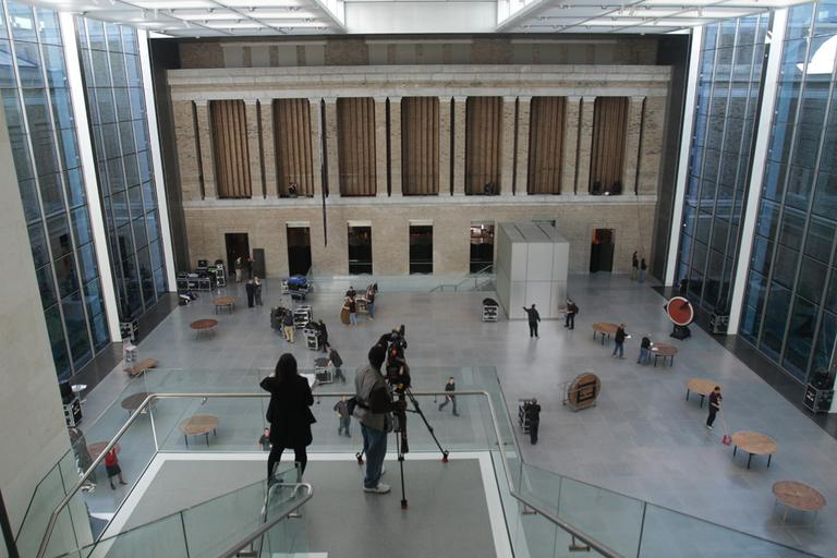 A view of the new Ruth and Carl J. Shapiro Family Courtyard from the third floor at the Museum of Fine Arts, Boston (Andrew Phelps/WBUR)