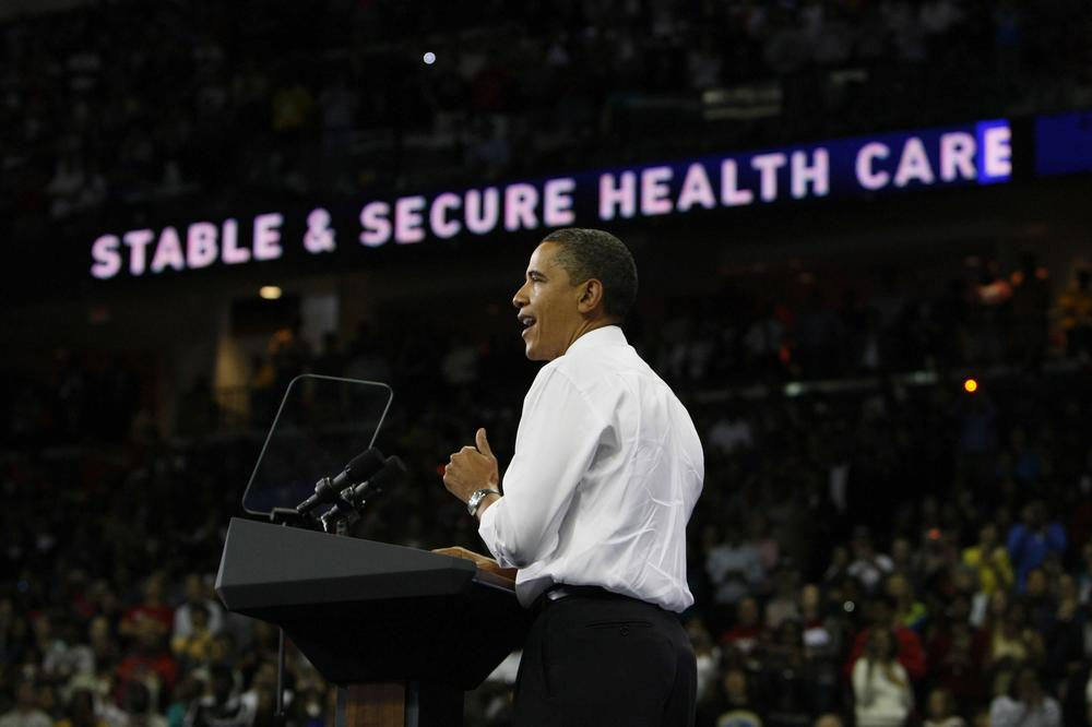 President Barack Obama speaks at a rally on health care reform, in College Park, Md., in 2009. (AP)
