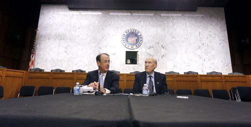 Debt Commission co-chairmen Erskine Bowles, left, and former Wyoming Sen. Alan Simpson speak to the media after a meeting of the commission, Dec. 1, 2010. (AP)