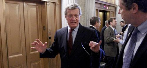 Senate Finance Committee Chairman Sen. Max Baucus, D-Mont., Dec. 13, 2010, before going to vote on the tax cut legislation. (AP)
