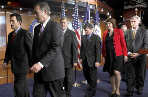 From left: House Minority Whip Eric Cantor of Va., left, and House Speaker in waiting John Boehner of Ohio, Rep. Pete Sessions, R-Texas, Rep. Jeb Hensarling, R-Texas, Rep. Cathy McMorris Rodgers, R-Wash., Rep. Tom Price, R-Ga., and Rep. Kevin McCarthy, R-Calif. (AP)