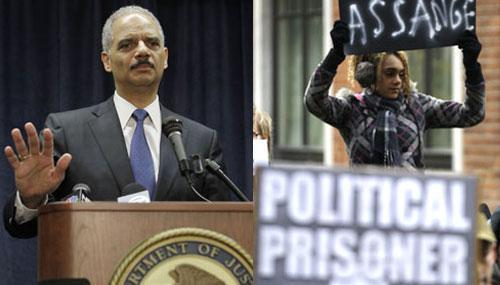 Attorney General Eric Holder as he discussed WikiLeaks, and supporter of Wikileaks founder Julian Assange in London, Dec. 2010 (AP Photos)