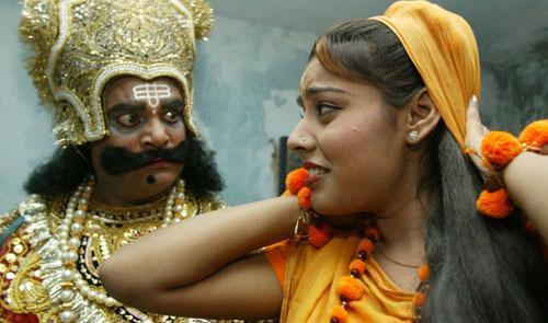 Artists rehearse for a Ramleela, a traditional drama based on the epic