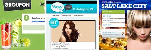 Online discount sites: Groupon; Wow; LivingSocial.