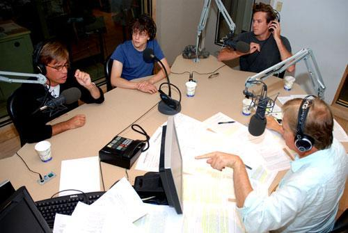 "Principals of ""The Social Network"" film. Left to right: Aaron Sorkin, Jesse Eisenberg, Armie Hammer, Tom Ashbrook, Sept. 22, 2010. (WBUR/Jesse Costa)"