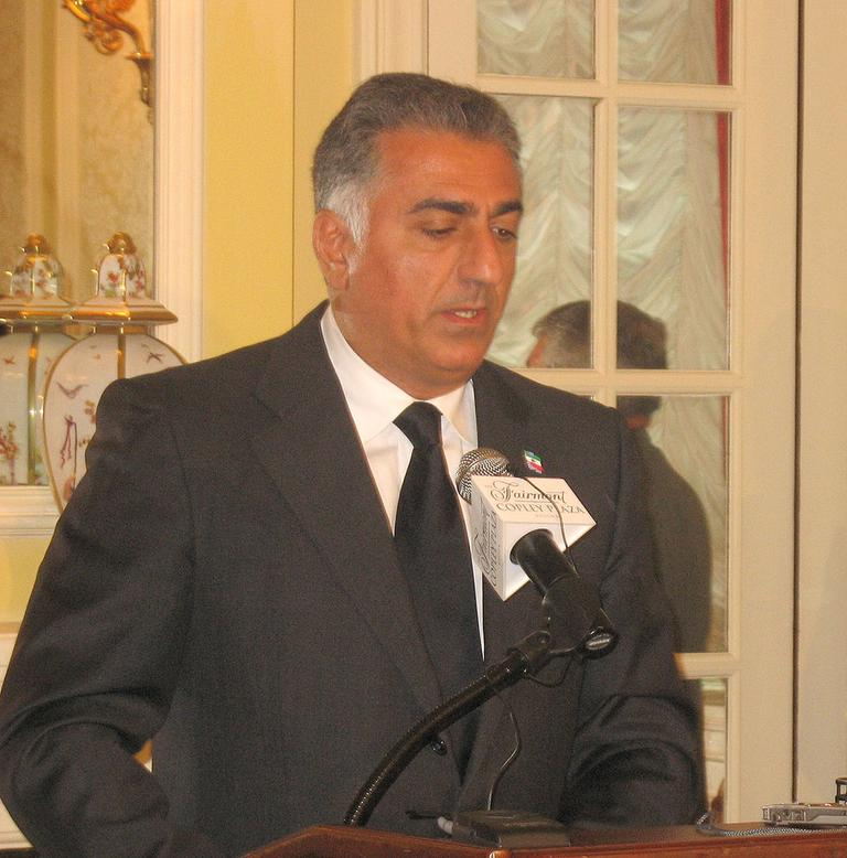 Reza Pahlavi speaks about his brother's suicide from the Copley Plaza in Boston Wednesday. (Bianca Vazquez Toness/WBUR)