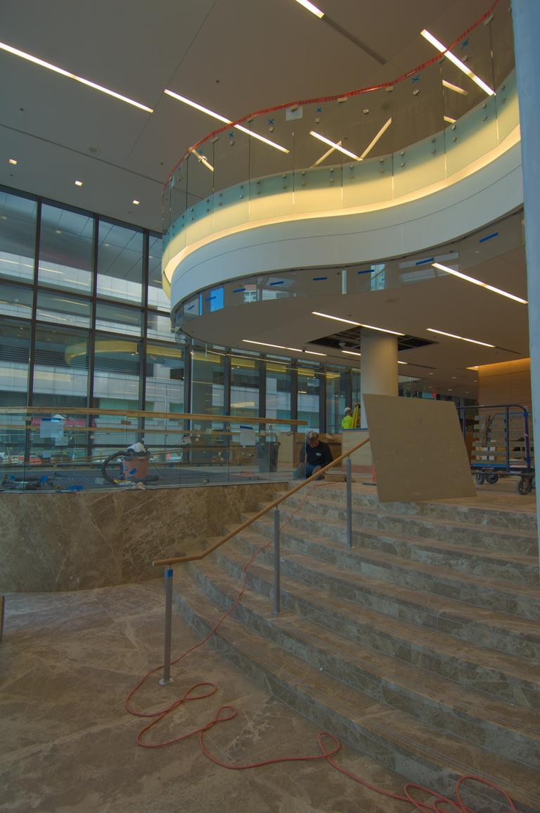 Interior photo of the main lobby and the reception area of the Yawkey Center. (Courtesy DFCI)