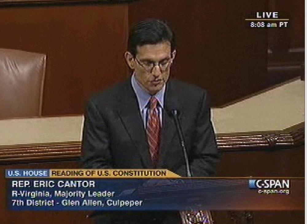 New House Minority Leader Eric Cantor (R-VA) takes part in reading the U.S. Constitution on the House floor. (screen capture: C-span.org)